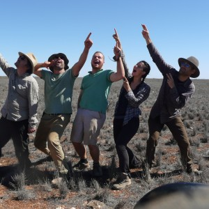 The DFN team reenact seeing a fireball while meteorite searching