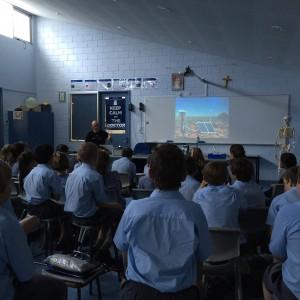 Professor Phil Bland talks to year 7s at St Joseph's School, Northam