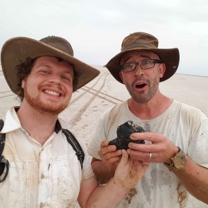 Rob Howie and Prof Phil Bland with THE meteorite