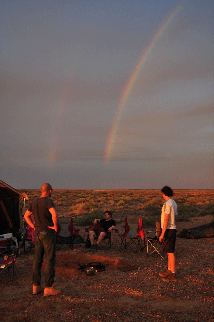 Double rainbow over camp