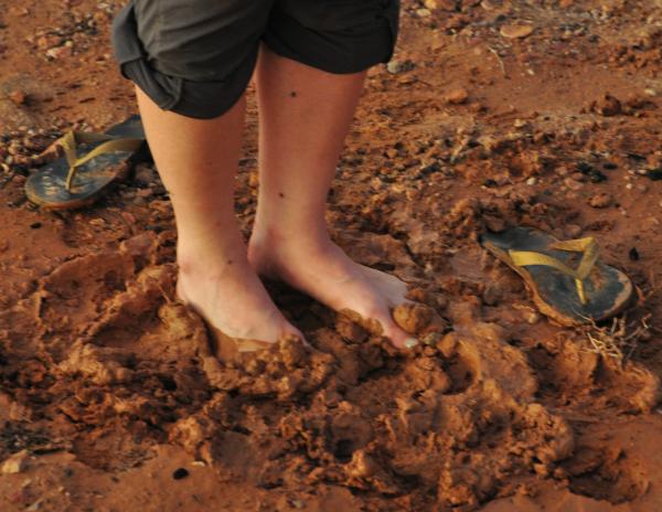 Nullarbor mud between the toes
